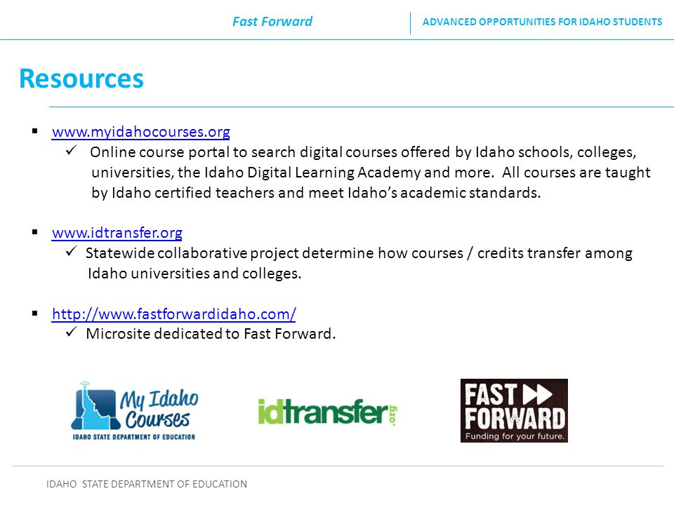 Resources www.myidahocourses.org