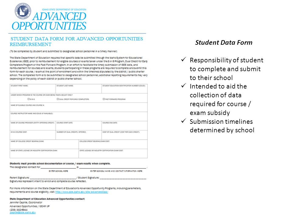 Student Data Form Responsibility of student to complete and submit to their school.