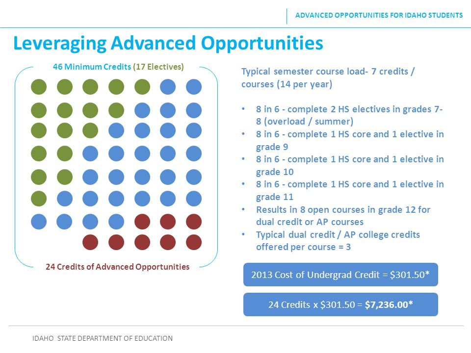46 Minimum Credits (17 Electives) 24 Credits of Advanced Opportunities