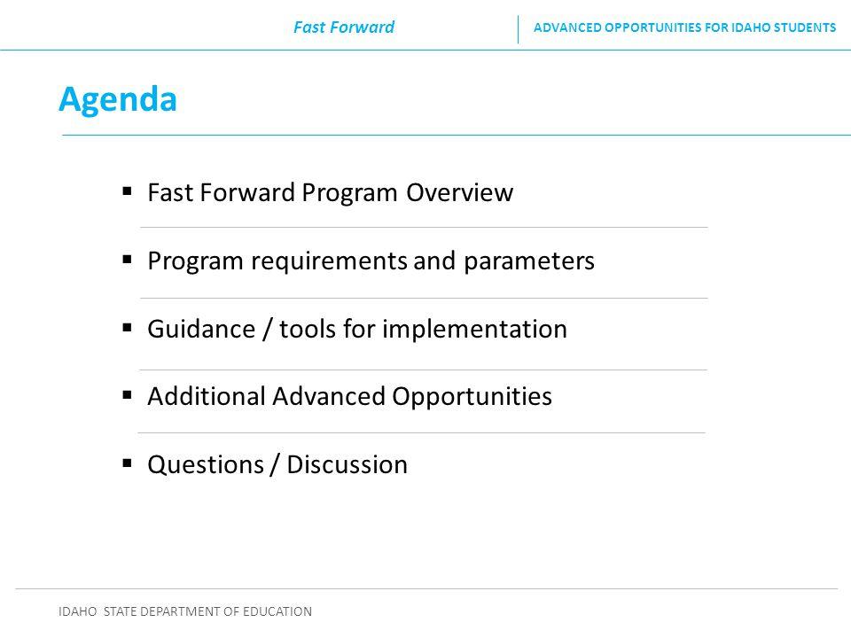 Agenda Fast Forward Program Overview