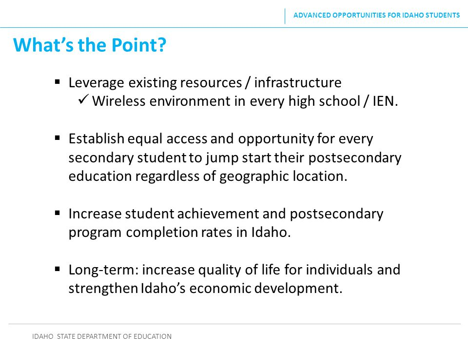What's the Point Leverage existing resources / infrastructure