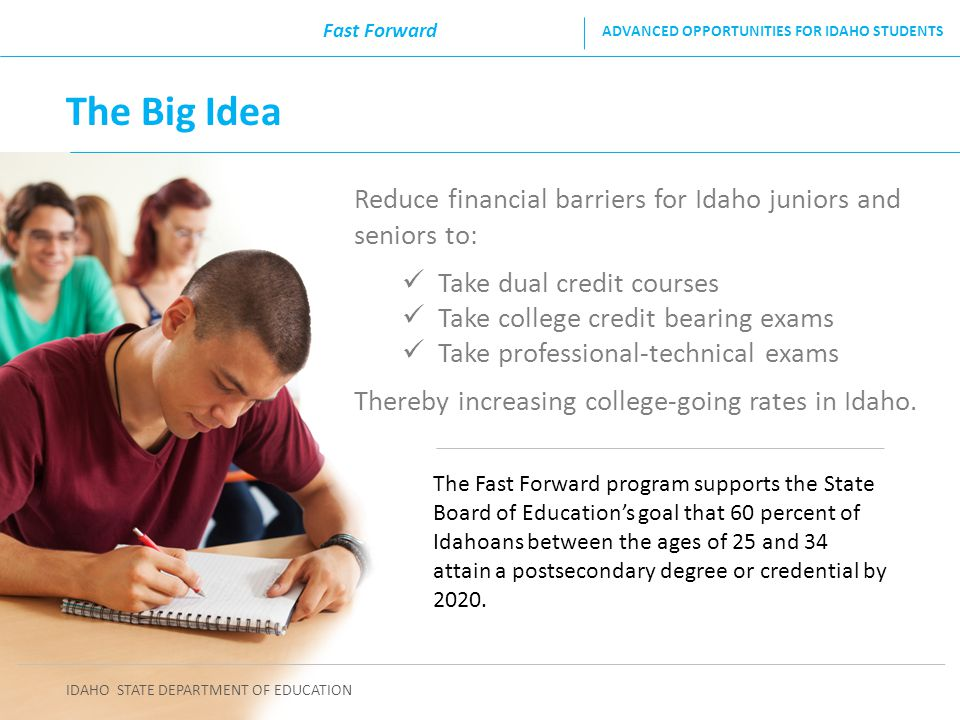 Fast Forward ADVANCED OPPORTUNITIES FOR IDAHO STUDENTS. The Big Idea. Reduce financial barriers for Idaho juniors and seniors to: