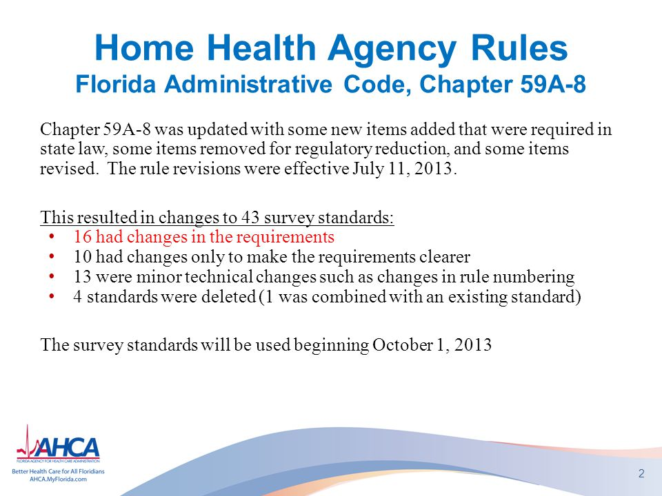 Home Health Agency Rules Florida Administrative Code, Chapter 59A-8