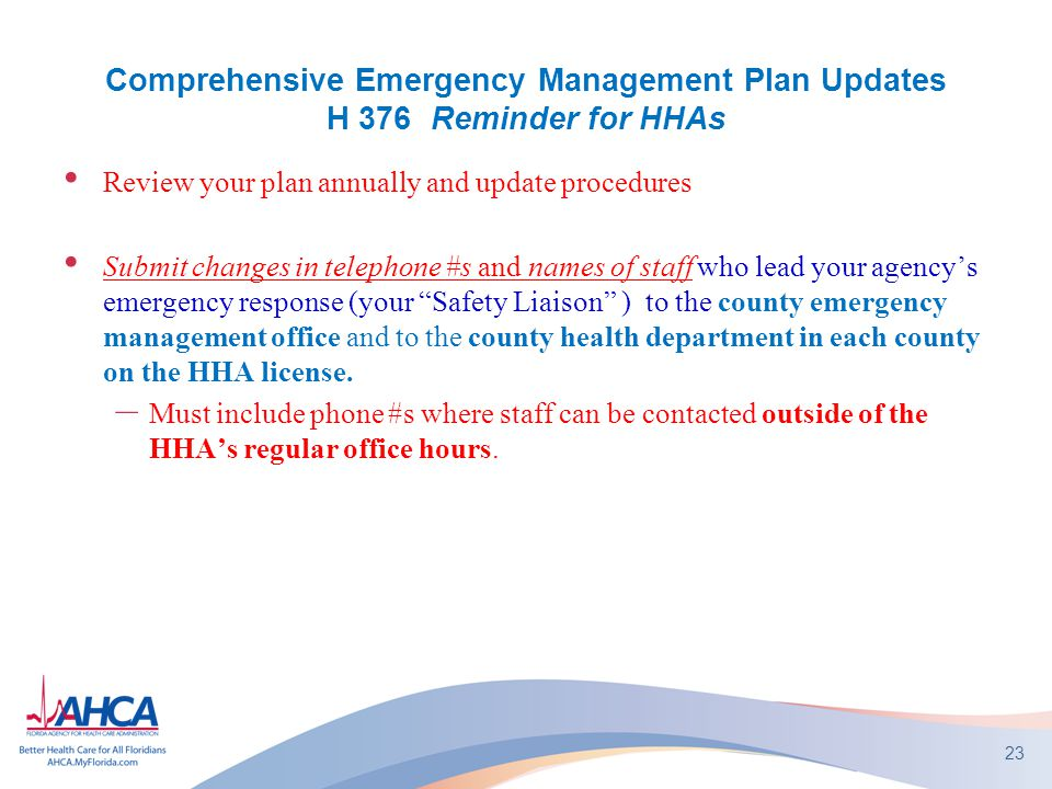 Comprehensive Emergency Management Plan Updates H 376 Reminder for HHAs