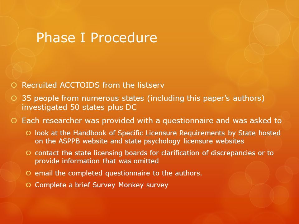 Phase I Procedure Recruited ACCTOIDS from the listserv