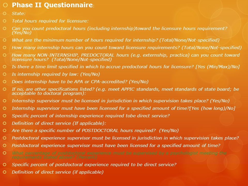 Phase II Questionnaire: