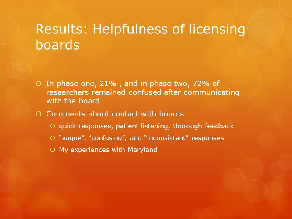 Results: Helpfulness of licensing boards