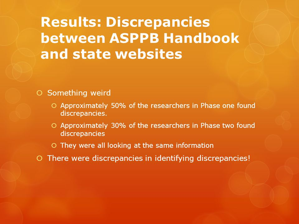 Results: Discrepancies between ASPPB Handbook and state websites