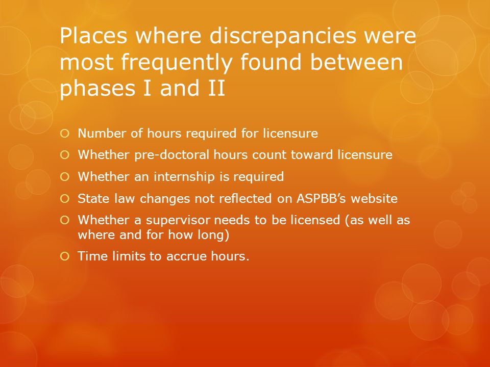 Places where discrepancies were most frequently found between phases I and II