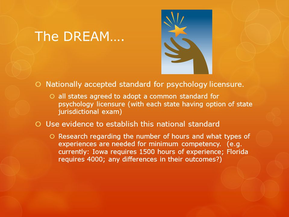 The DREAM…. Nationally accepted standard for psychology licensure.