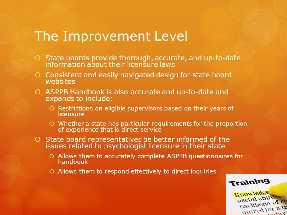The Improvement Level State boards provide thorough, accurate, and up-to-date information about their licensure laws.