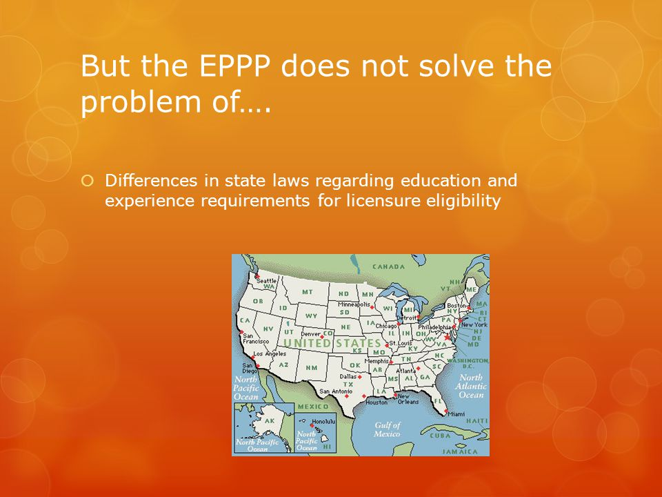 But the EPPP does not solve the problem of….