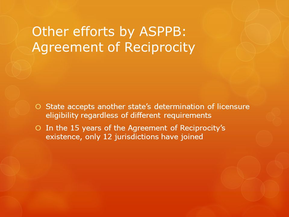 Other efforts by ASPPB: Agreement of Reciprocity
