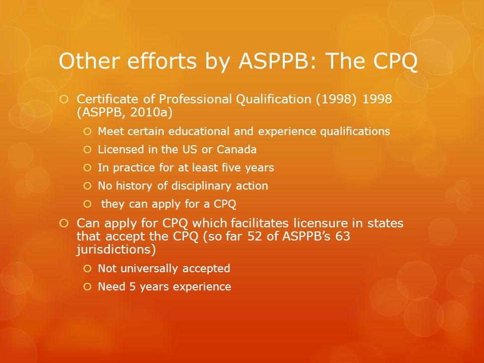 Other efforts by ASPPB: The CPQ