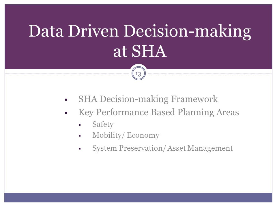 Data Driven Decision-making at SHA