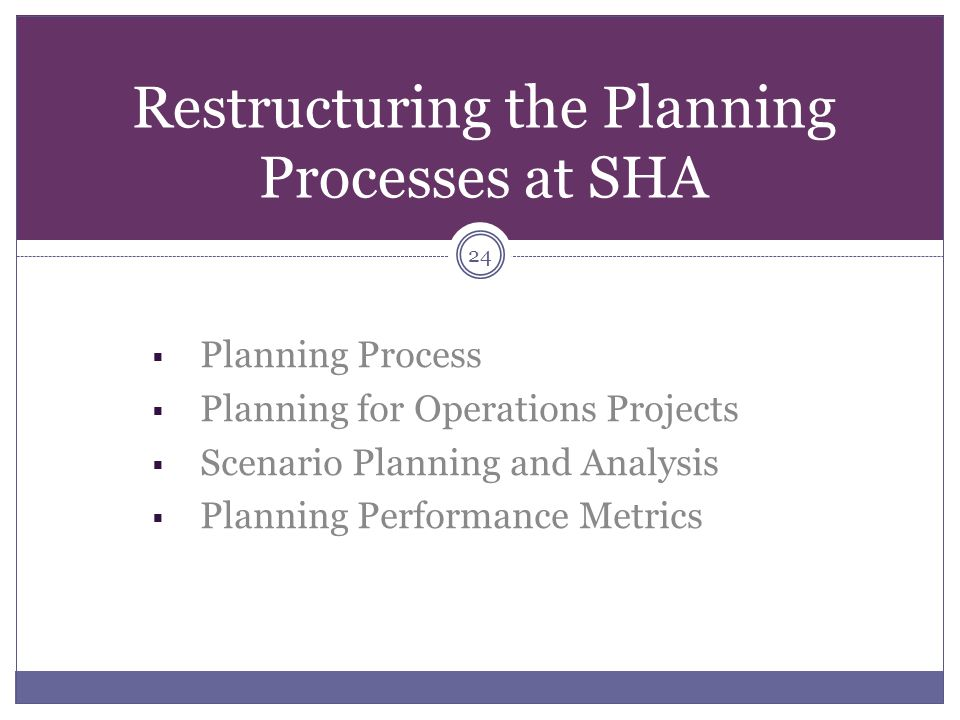 Restructuring the Planning Processes at SHA