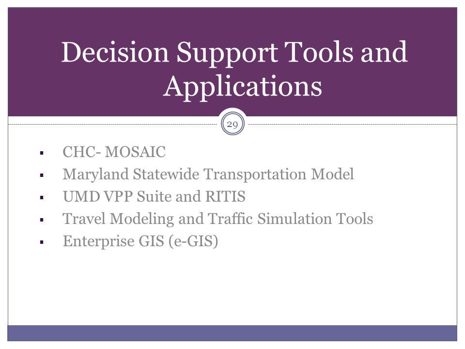 Decision Support Tools and Applications