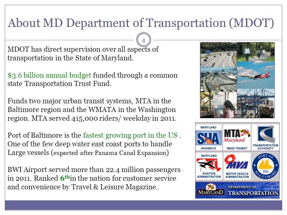 About MD Department of Transportation (MDOT)