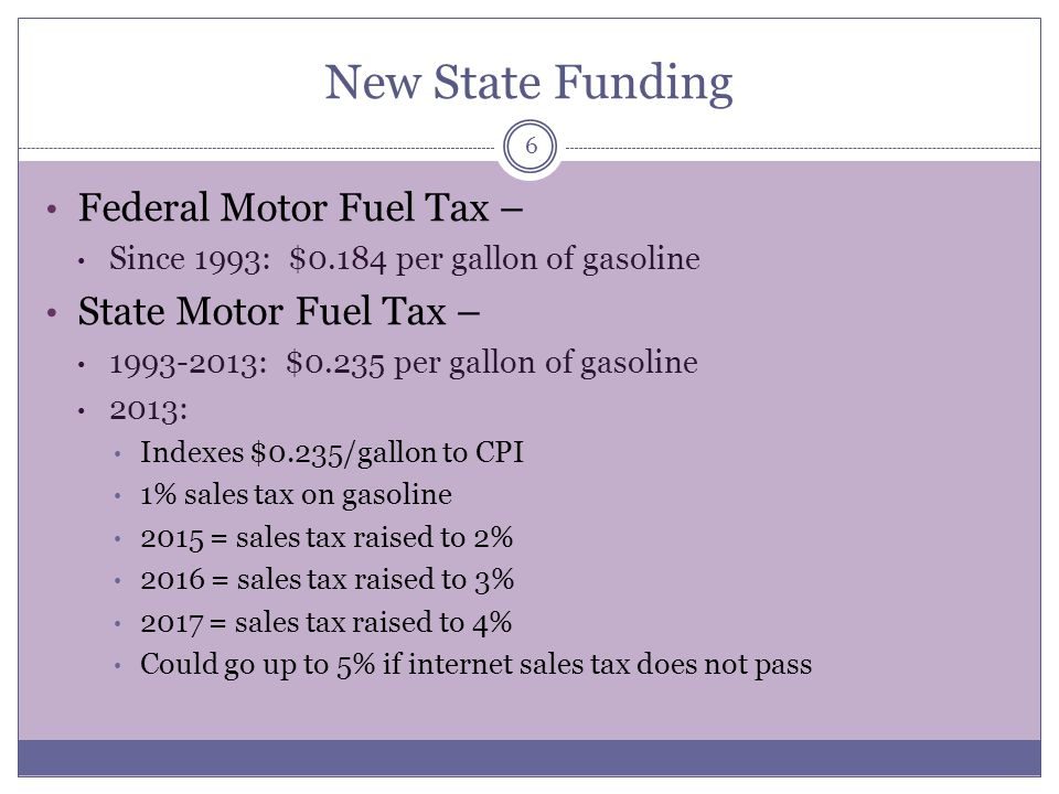 New State Funding Federal Motor Fuel Tax – State Motor Fuel Tax –
