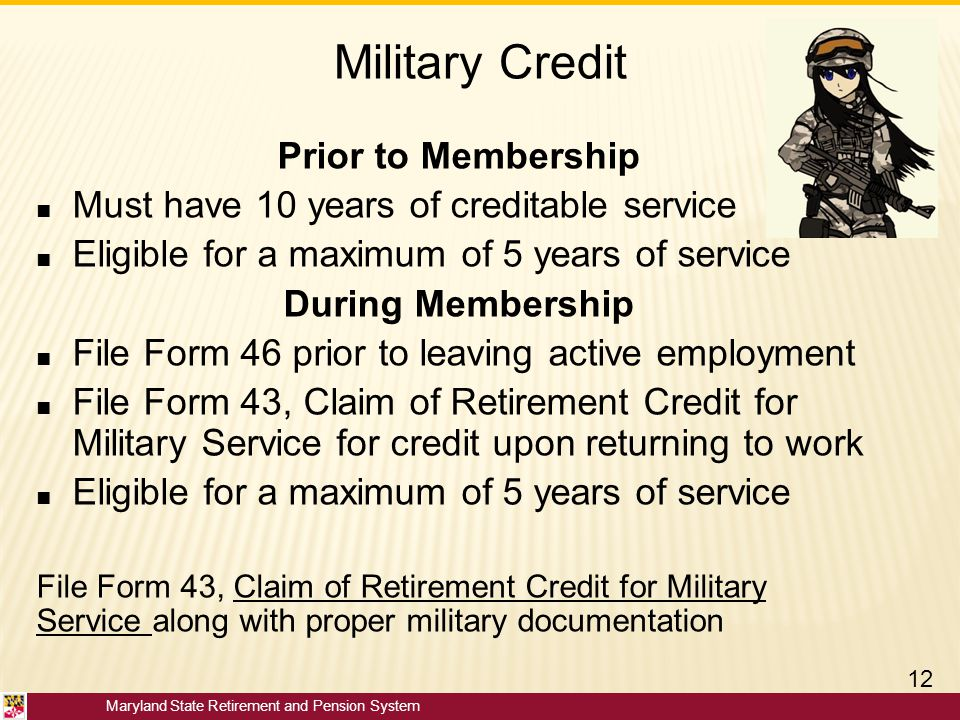 Military Credit Prior to Membership
