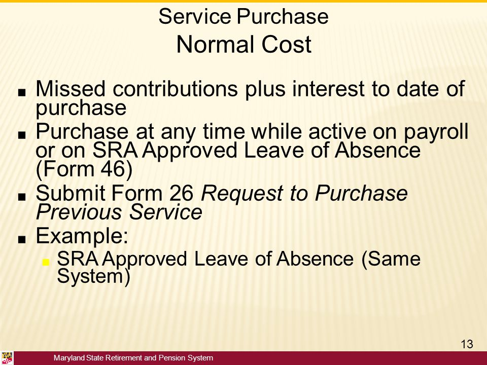 Service Purchase Normal Cost
