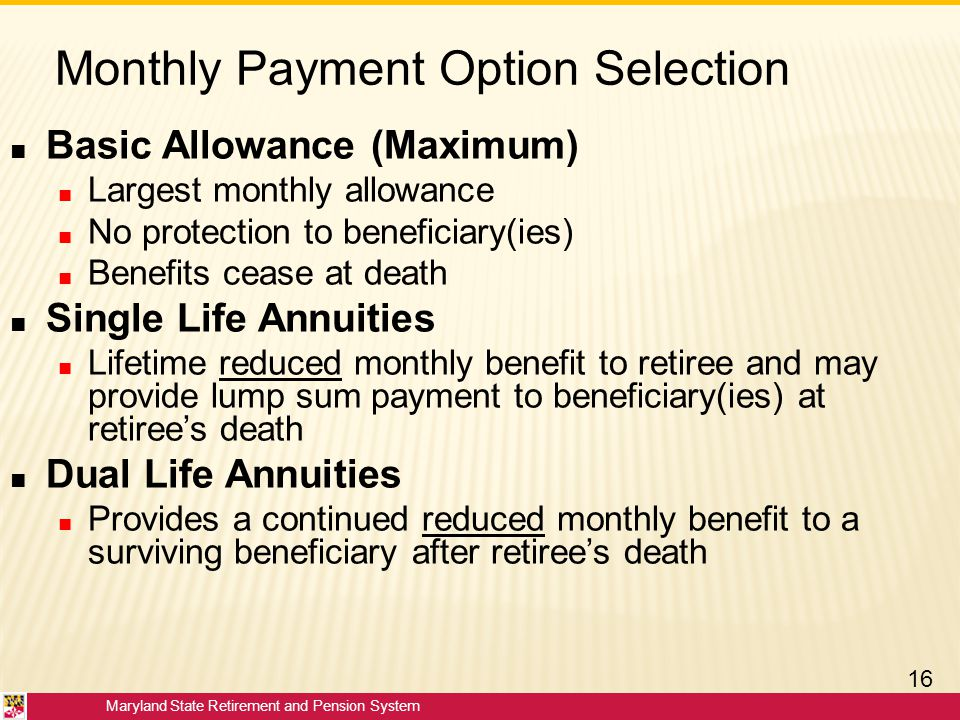 Monthly Payment Option Selection