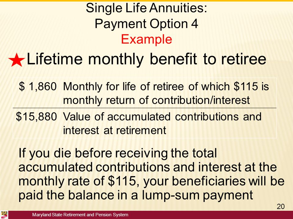 Single Life Annuities: Payment Option 4 Example