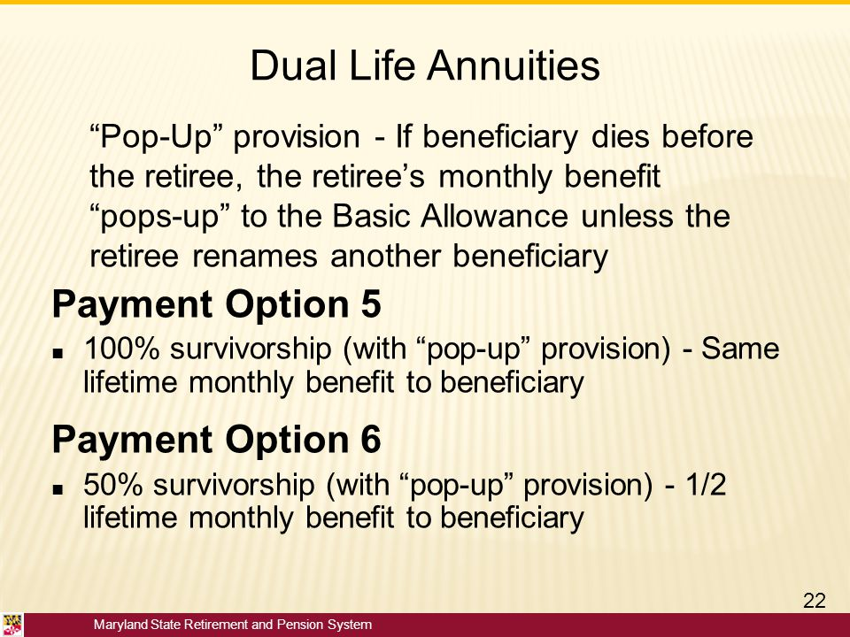 Dual Life Annuities Payment Option 5 Payment Option 6