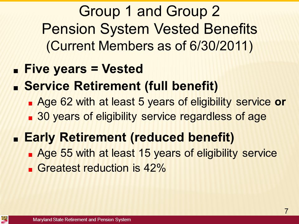 Group 1 and Group 2 Pension System Vested Benefits (Current Members as of 6/30/2011)