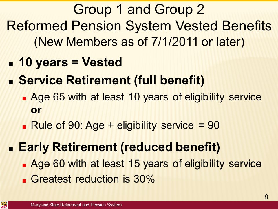 Group 1 and Group 2 Reformed Pension System Vested Benefits (New Members as of 7/1/2011 or later)