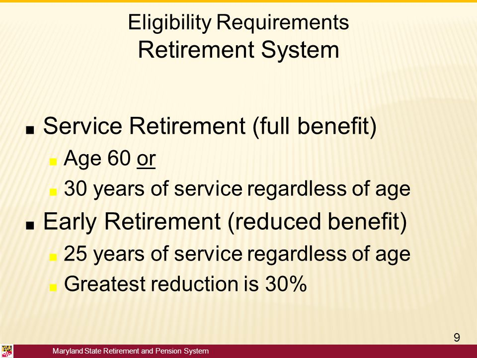 Eligibility Requirements Retirement System