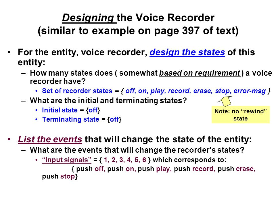 Designing the Voice Recorder (similar to example on page 397 of text)