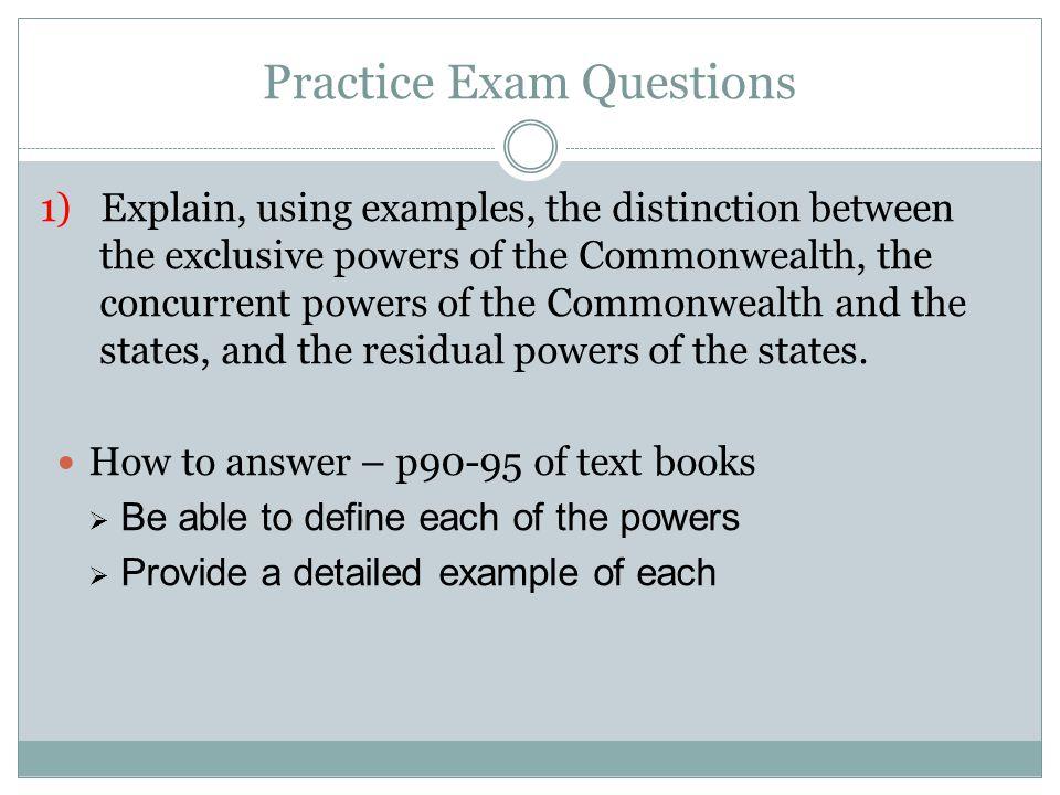 Practice Exam Questions