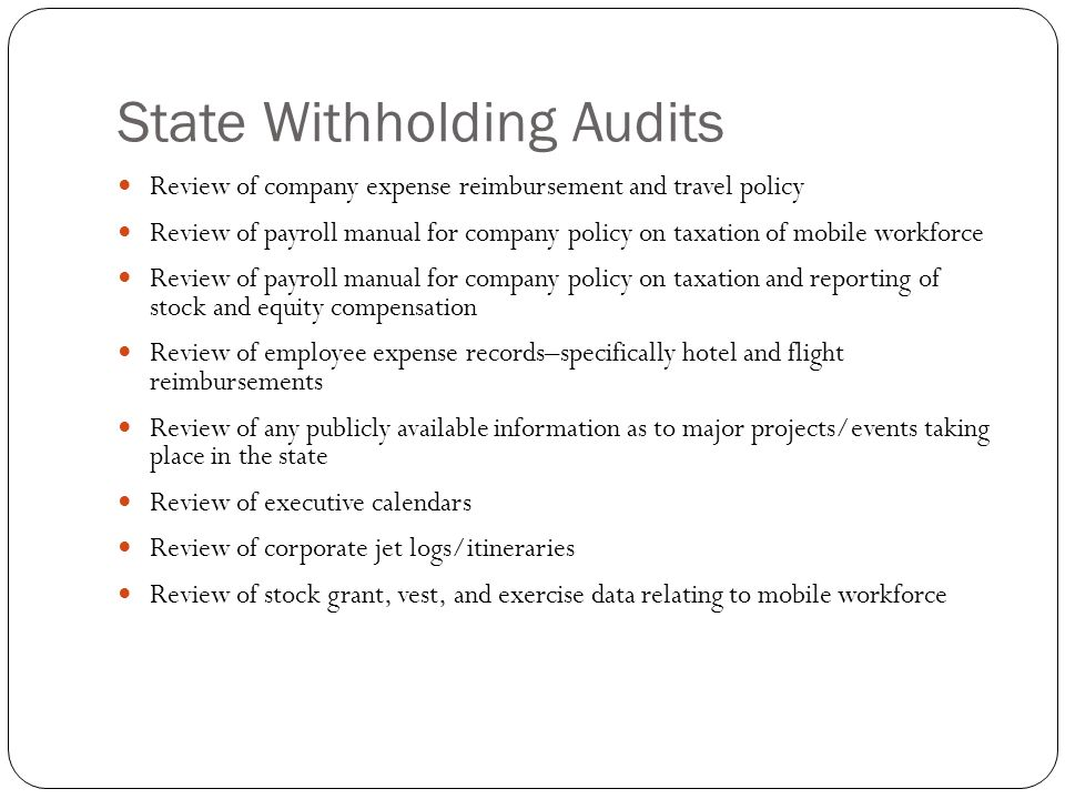 State Withholding Audits