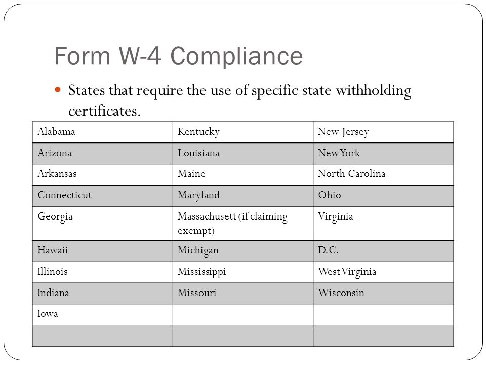Form W-4 Compliance States that require the use of specific state withholding certificates. Alabama.