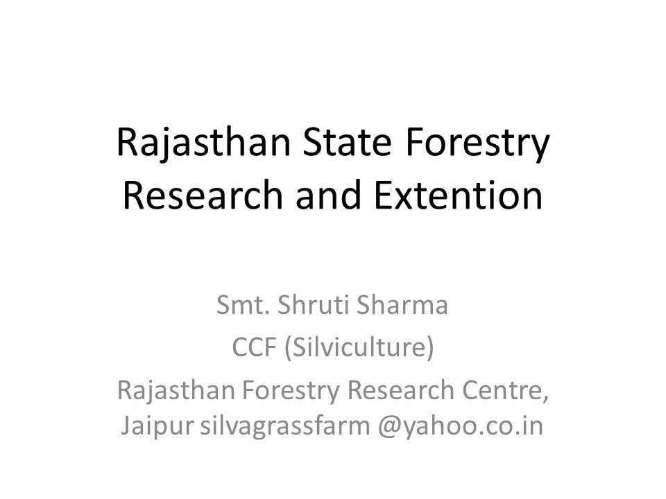 Rajasthan State Forestry Research and Extention