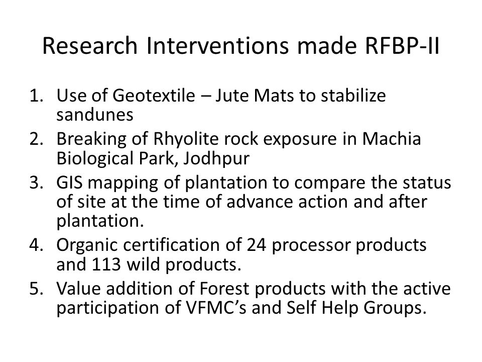 Research Interventions made RFBP-II