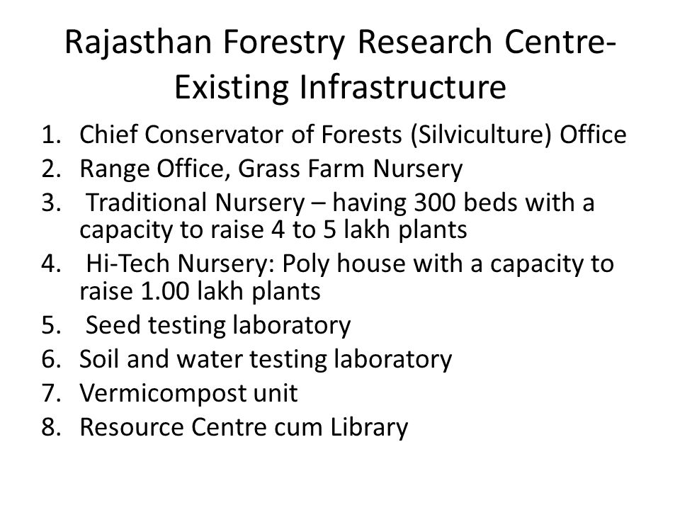 Rajasthan Forestry Research Centre-Existing Infrastructure