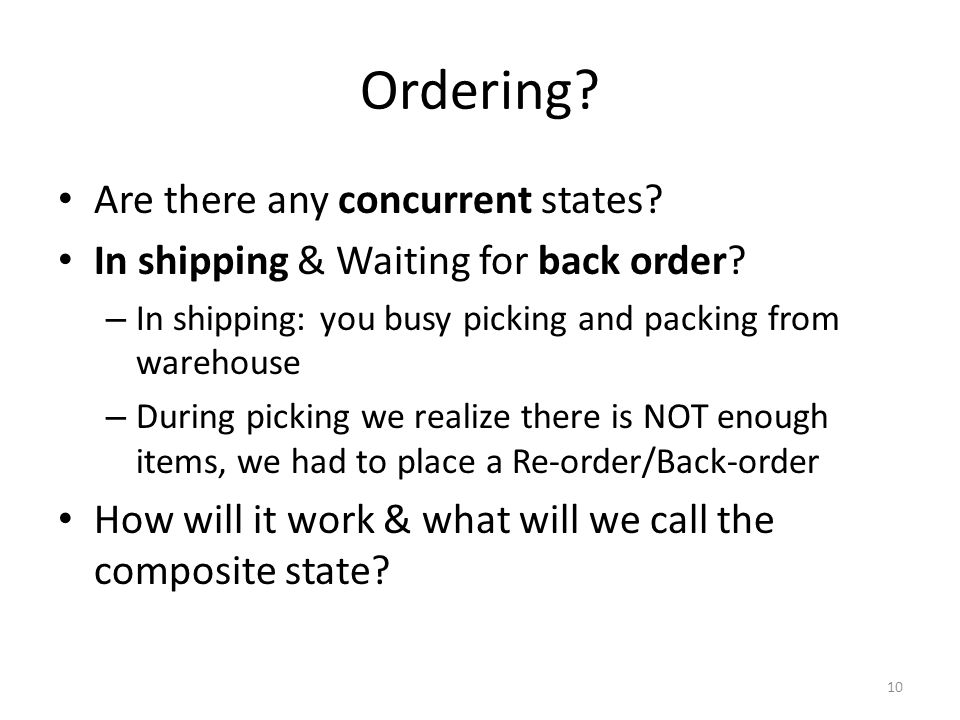 Ordering Are there any concurrent states