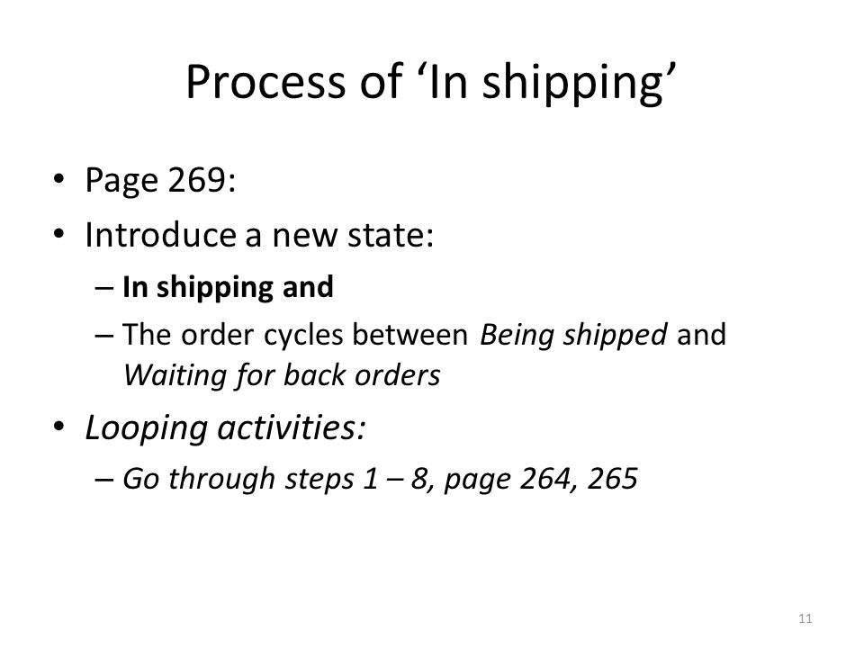 Process of 'In shipping'