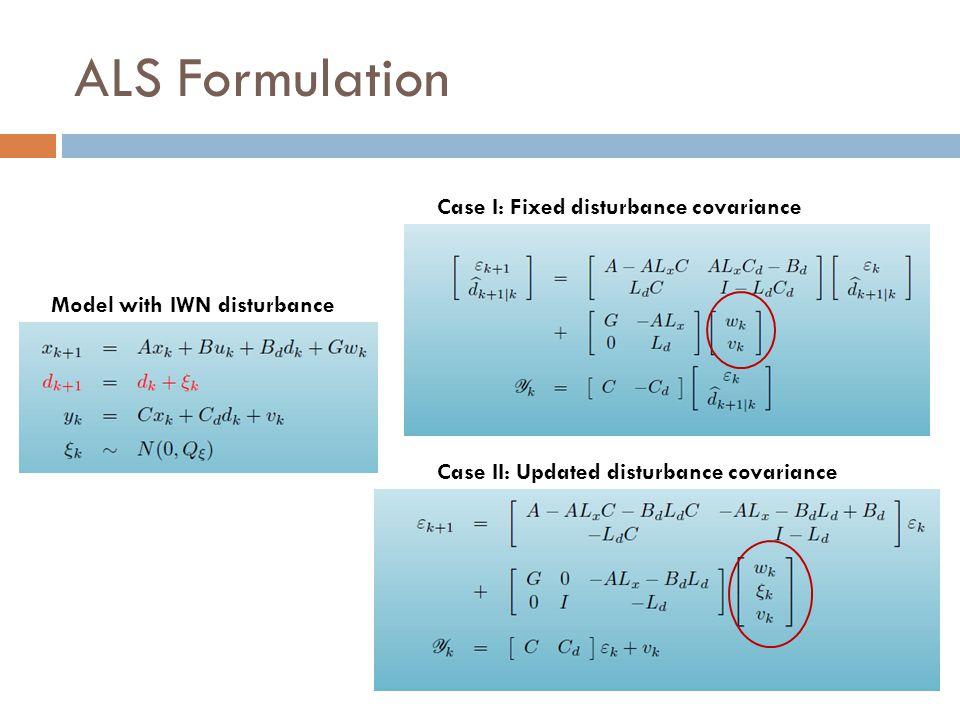 ALS Formulation Case I: Fixed disturbance covariance