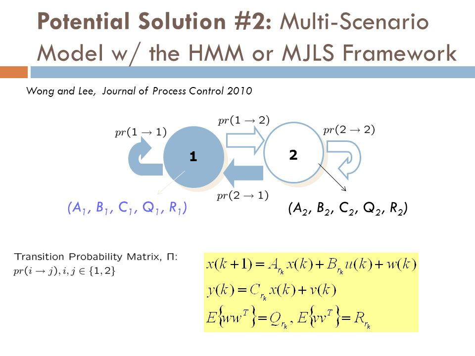 Potential Solution #2: Multi-Scenario Model w/ the HMM or MJLS Framework