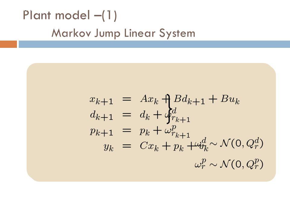 Plant model –(1) Markov Jump Linear System