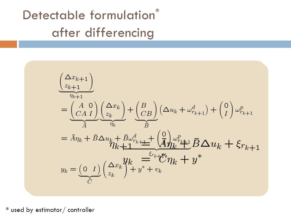 Detectable formulation* after differencing