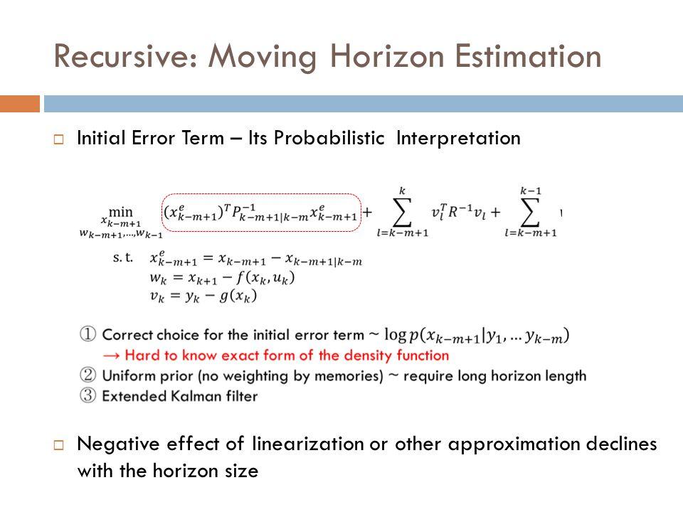 Recursive: Moving Horizon Estimation