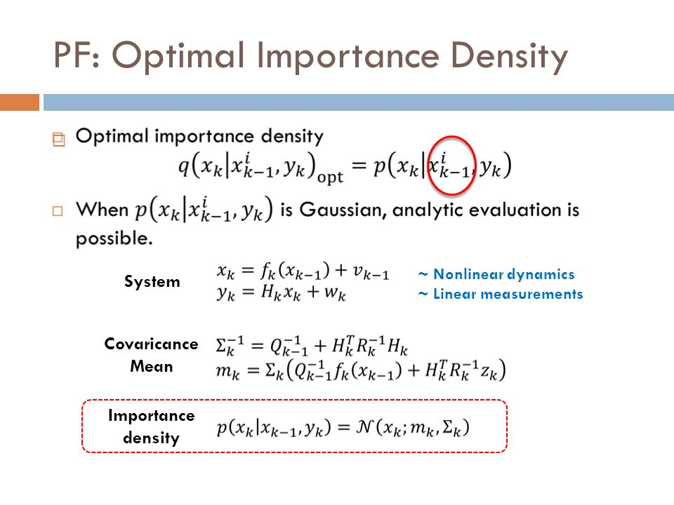 PF: Optimal Importance Density