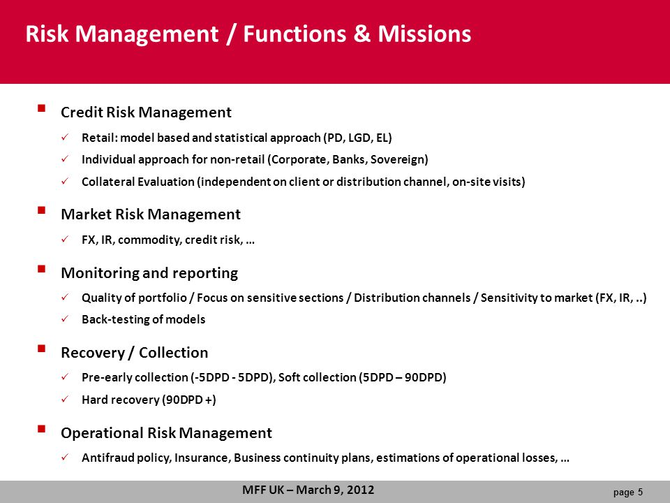 Risk Management / Functions & Missions