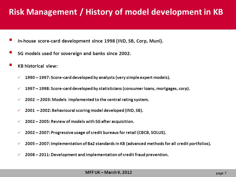 Risk Management / History of model development in KB