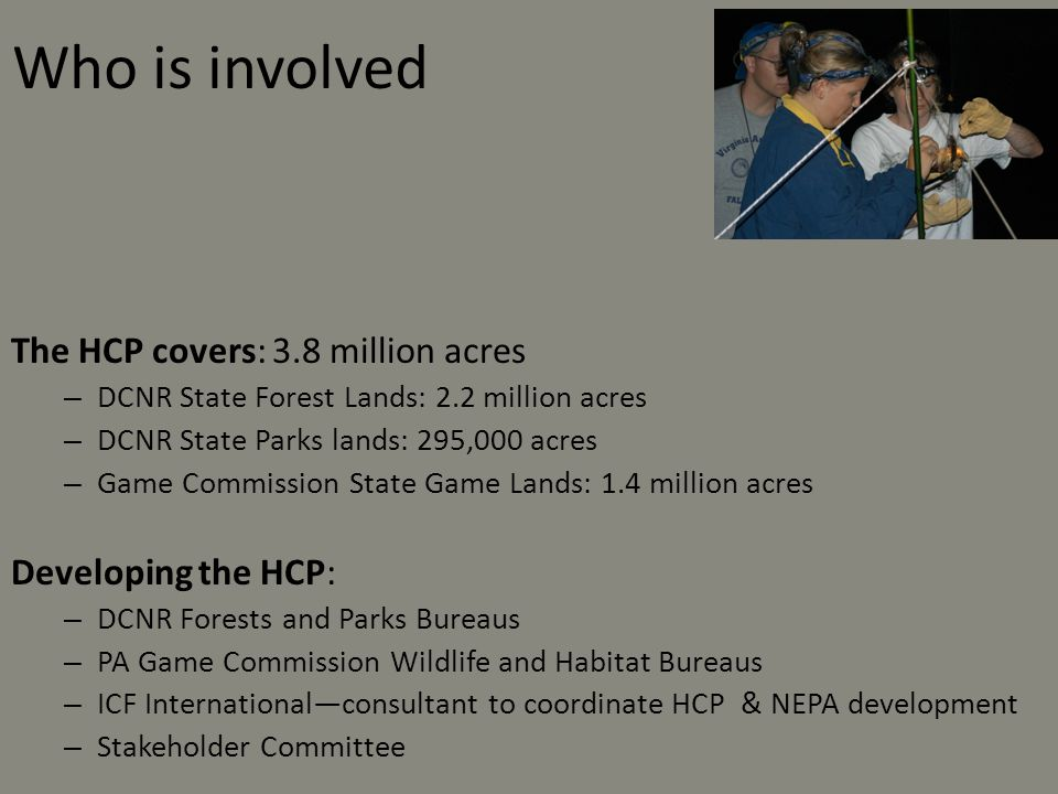 Who is involved The HCP covers: 3.8 million acres Developing the HCP: