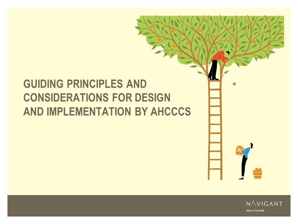 Guiding principles and considerations for Design and implementation by AHCCCS